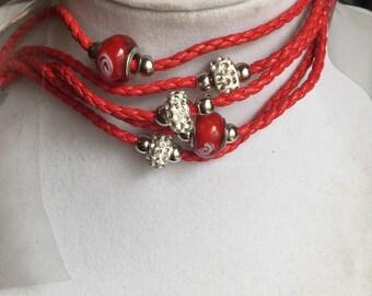 Red beaded red bracelet