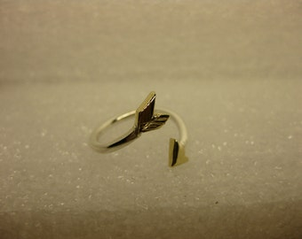 midi ring arrow silver and gold ring