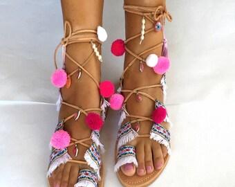Tie Up Gladiator Sandals ''IRA'', Pom Pom Sandals, Boho Sandals, Lace Up sandals