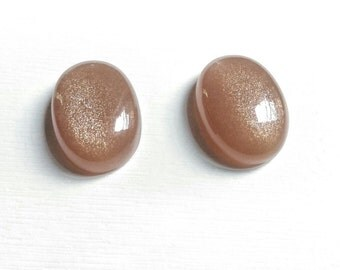 SALE-Mocha Peach Moonstone Natural Gemstone Oval Shaped Cabochon Pair... Finely Crafted.. Highly Polished...23x17mm each...