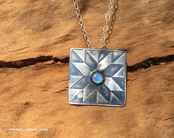 quilt jewelry, quilter, moonstone, silver pendant,