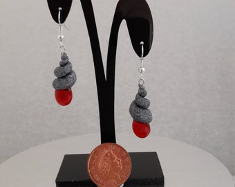 Handmade Polymer Clay Earrings - Granite effect with Red Glass Droplets and Silver-plated  French Hook - REF04