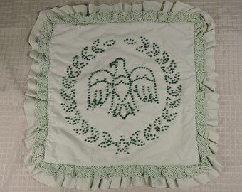 Pillow Cover Ruffles Vintage Handmade Candlewicking  Eagle Green Country Rustic Farmhouse