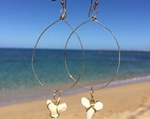 gold fill wire wrapped shark tooth drop earrings for the ocean lover, shark lover and surfergirl, handmade in hawaii beach earrings jewelry