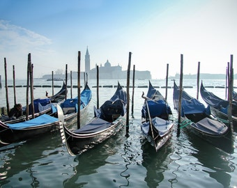 Docked Venice Gondolas Print