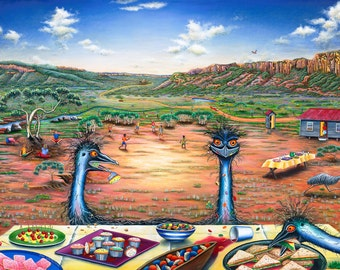 Lithograph Print, indigenous life, art print, fine art, Aboriginal life, Australian painting, original paintings, archival paper, acid free