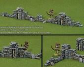 RUINED GRAVEYARD WALLS (3 Walls, 2 Posts)