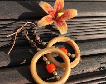 Dangling Hoop Earrings ~ Beaded Hoop Earrings ~ Wood Hoop Earrings ~ Gift for Her