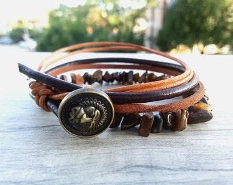 Hipster Wrap bracelet Wrap Tiger eye bracelet Leo zodiac bracelet Men Earthy jewelry Bohemian Leather bracelet Brown Boho gift for man