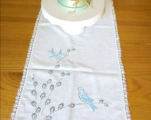 Table runner, Vintage table runner with blue birds and pussy willow twigs, Shabby chick Easter decor, Centerpiece Spring table decor.