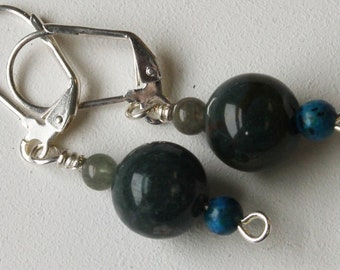 Green and Blue, Stone and Glass Earrings