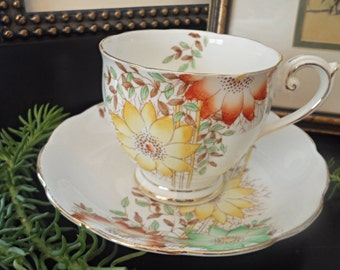 Vintage Bell China, Yellow and Orange Teacup and Saucer, Sunflowers with Bamboo Motif