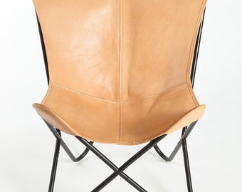 Light Brown Genuine Leather Butterfly Chair - Cowhide BKF