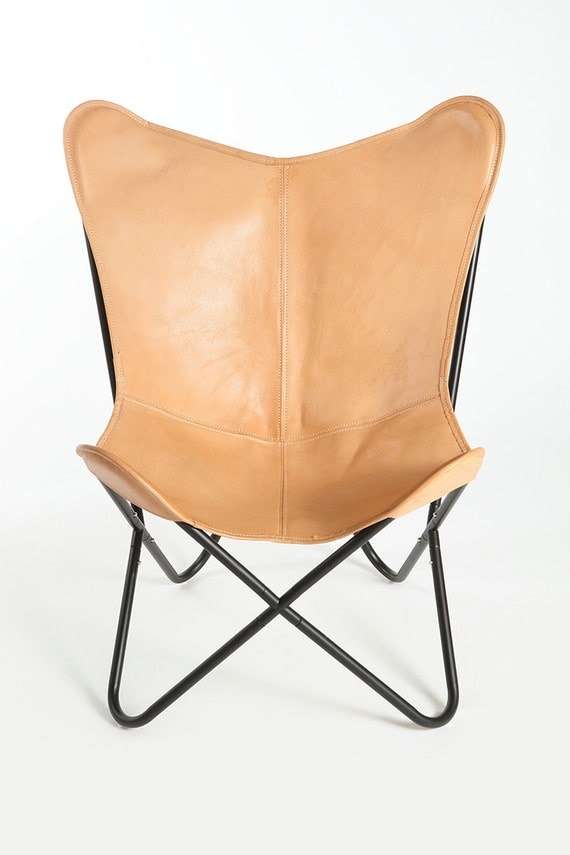 light brown genuine leather butterfly chair cowhide bkf. Black Bedroom Furniture Sets. Home Design Ideas
