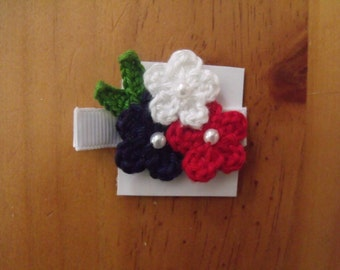 Handmade Boutique Double Prong Lined Alligator Hair Clip - Crochet Flowers - Red, White Blue