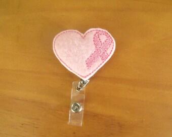 Heart Breast Cancer Ribbon Retractable Reel ID Badge Lanyard Clip Nursing Scrubs Pink