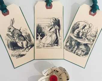 Gift Tags, Alice in Wonderland, Tags, Alice, Green, Ribbon