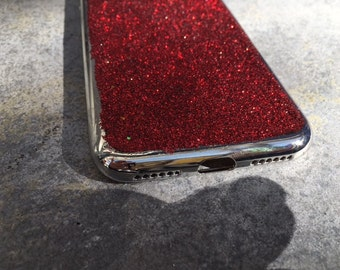 Christmas iPhone 7 Cell Phone Case, Red Glittery