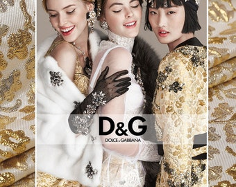 Gold  Brocade Fabric, High Fashion Jacquard Fabric.