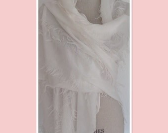 Snow White Fluffy Fringes Style PashmIna/Shawl/Wrap - Extra Long and Extra Wide Unique Look