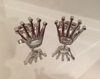 Crown Design Stainless Steel Cufflinks New With Box. [Silver]