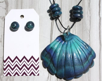 Polymer Clay Faux Abalone Shell Necklace and Earring Set