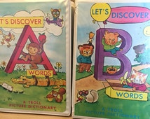 16 Vintage Book and Cassette Tape Set 1974, Troll Talking Picture Dictionary. learn to read, books on tape, childrens reading library