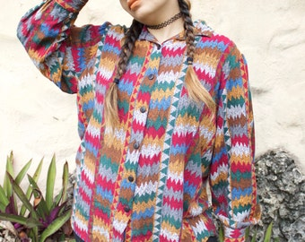 Retro patterned button up