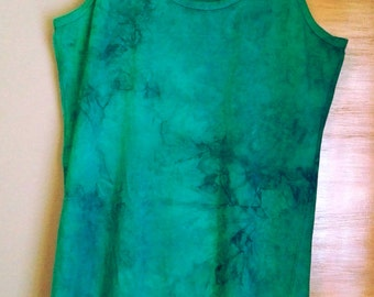 Turquoise, hand dyed & unique slim fit top size XL