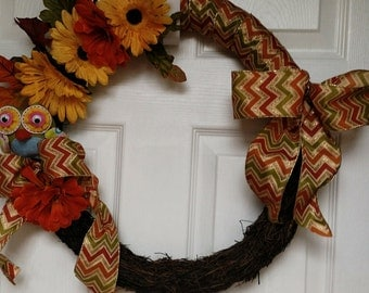 Leaves and Owl Fall Wreath