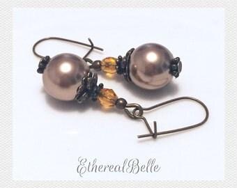Victorian Gold Swarovski pearl earrings antique bronze earrings Czech crystal earrings bronze earrings vintage look dangle earrings
