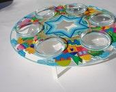 Passover Seder Plate, Metal Glass Passover plate, Handpainted seder plate, Jewish holidays, Judaica art, Passover gift, Wedding gift