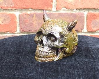 Hand Painted Bronze Effect Demon Horned Skull