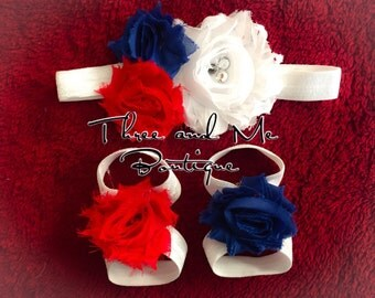 PATRIOTIC Ribbon Sandals/Headband Set; Baby Accessories; Fourth of July!