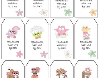 Owls Gift Tags Double Sided Small - PDF FILE ONLY
