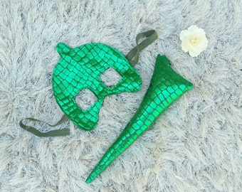 PJ Masks Gecko/Gekko Costume Mask and Tail for Kids and Adult Sizes