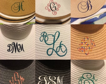 Embroidered monogrammed sun hats.