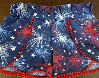 Fourth of July shorts / summertime clothing / fireworks / red, white and blue / independence day wear / Coachella /