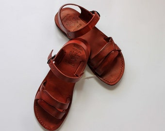 Jesus sandals , the best natural low heels sandals for women in the natural brown color of the genuine leather from Jerusalem