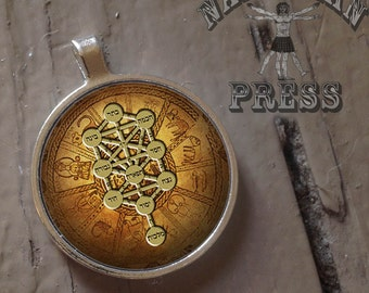 Tree of Life Bahir, FREE ball chain included,Round Bezel Pendant