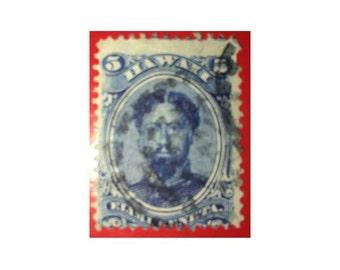 Hawaiian stamp  1866  5 Cents Blue Scott 32 King Kamehameha V  fancy cancel