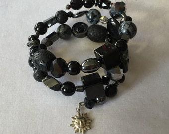 Black Gemstone Beaded Bracelet