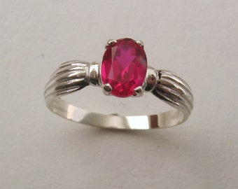 Genuine SOLID 925 Sterling Silver Ruby Dress Ring
