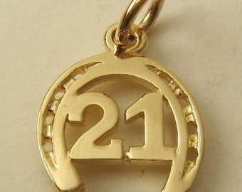 Genuine SOLID 9ct YELLOW GOLD 21ST Birtday Horse Shoe charm pendant