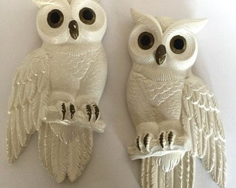 Pair of Chalkware Owls by Miller Studio