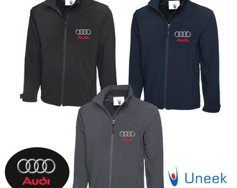 Uneek Premium Full Zip Soft Shell Jacket With Audi Logo Embroidered on Front