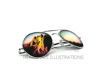 Mountain Sunglasses - Colored Pencil Art Print by Headspace Illustrations