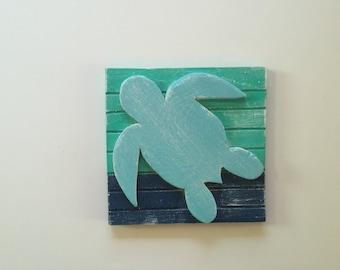 Coastal Sea Turtle, Beach Turtle, Reclaimed Beach Art, Beach House, Coastal Bathro