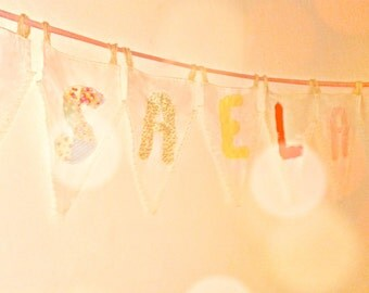 Personalised vintage bunting (up to seven personalised flags inc. in price) <3