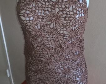 Brown crochet for the beach dress